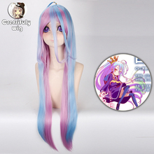 цена на 2019 New NO GAME NO LIFE Shiro Cosplay Wigs 100cm Blue Pink Ombre Heat Resistant Synthetic Hair Peruca Women Cosplay Wig