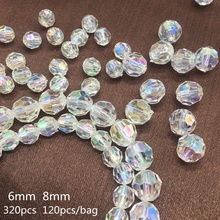 Meideheng AB Rainbow section Beads Acrylic Transparent Bride hair DIY Beads For Jewelry Making Handmade Crafts Accessories 6 8mm