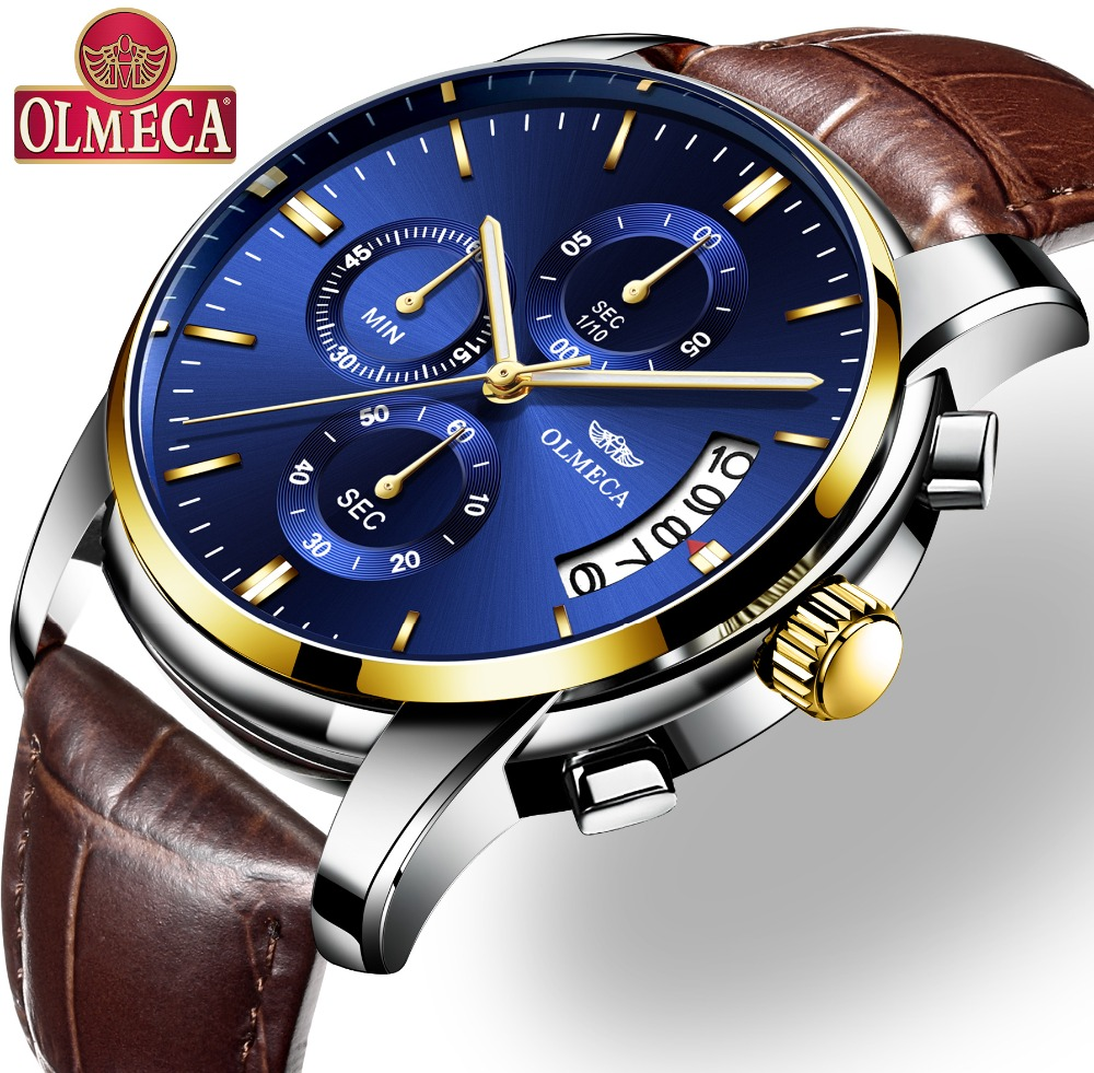 OLMECA Watch Luxury Man Watches Waterproof Watches Chronograph Clock Military Quartz Wristwatch Relogio Masculino Leather Band