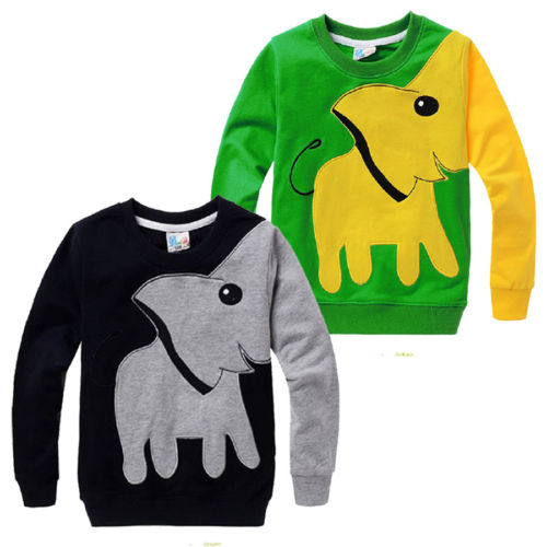 CANIS Casual Baby Clothes Toddler Kids Boys Elephant Sweatshirt Long Sleeve Pullover Tops T-shirt Sweatshirt 2-7T