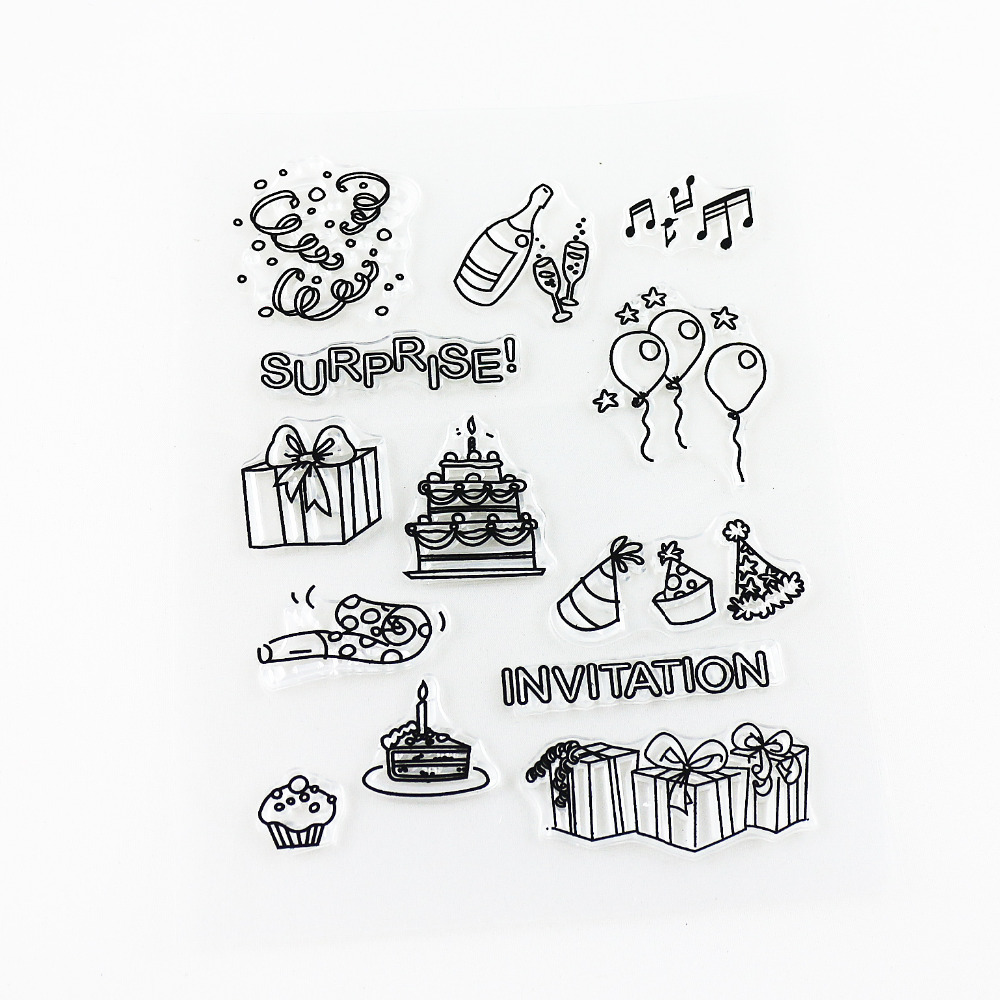 craft and scrapbooking clear stamp happy birthday theme silicone stamp DIY kids cute rubber tools