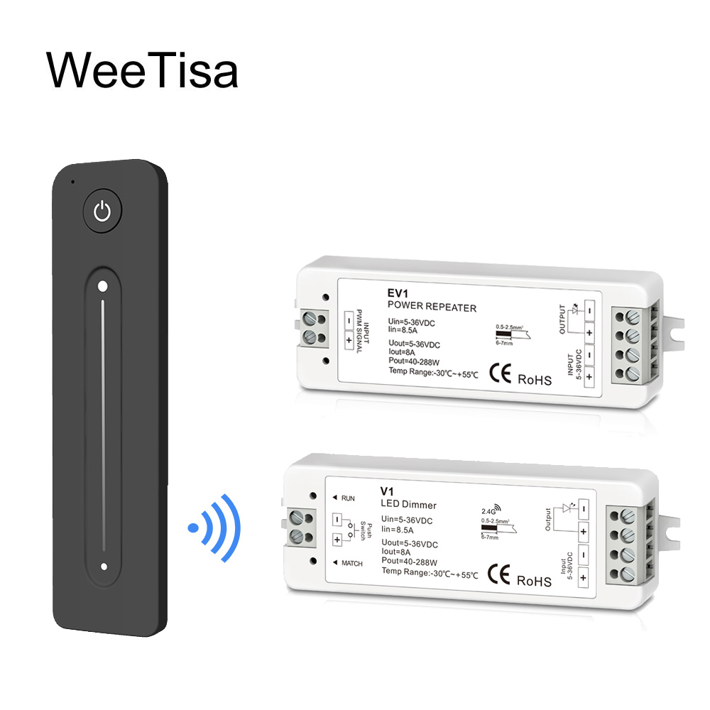 LED Dimmer Amplifier 12V 5V 24V 36V 8A PWM Wireless RF 2.4G Touch Remote Brightness Adjustment Switch For Single Color LED Strip