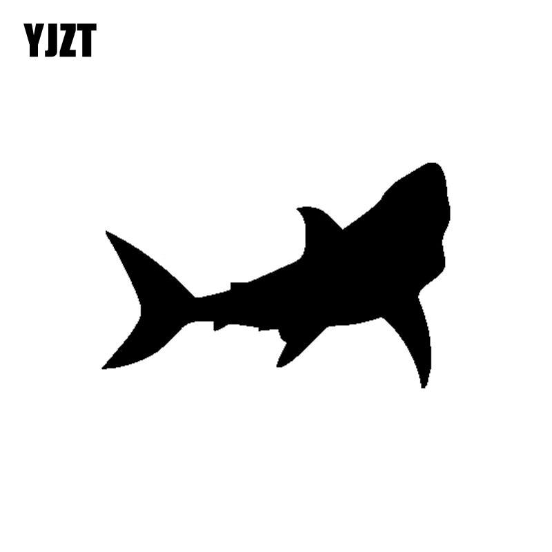 Yjzt 13cm 8 4cm Cartoon Fun Great White Shark Silhouette