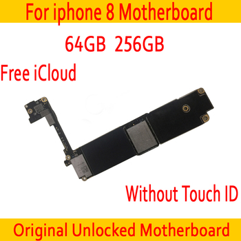 Original unlocked for iphone 8 Motherboard without Touch ID,64GB / 256GB for iphone 8 Mainboard with Free iCloud,Good Tested