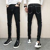 2018 new stretch jeans men's feet pants stitching repair casual year zipper casual beam foot fashion trend boys pants