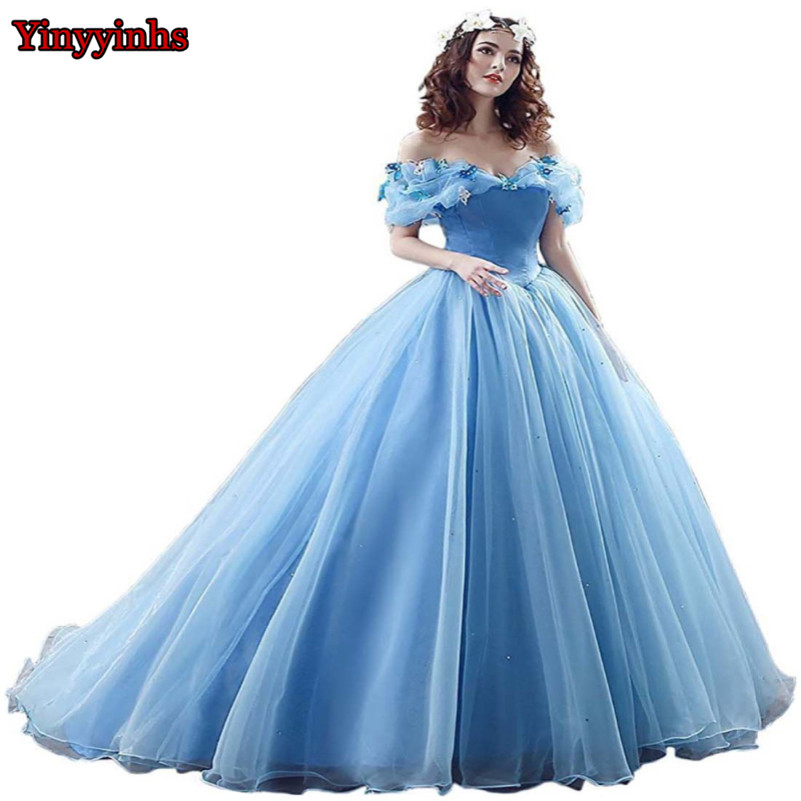 55d044d3d81df US $119.99 |Blue Ball Gown Prom Dress New Movie Princess Cinderella Cosplay  Dress for 2018 Fancy Off The Shoulder Tulle Party Dress CG009-in Evening ...
