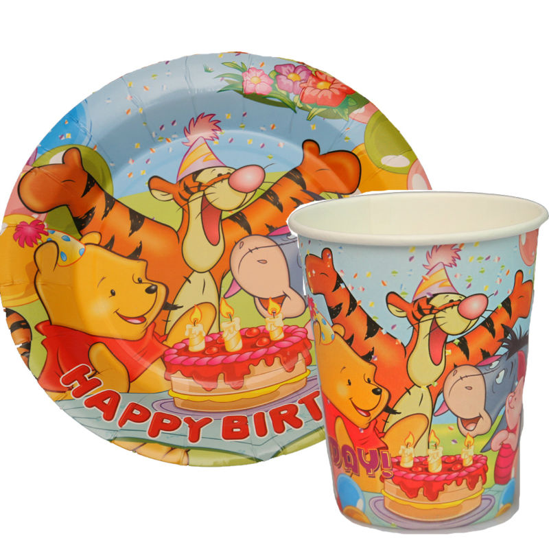 100pcs Winnie The Pooh Tigger Paper Plates And Cups Disposable Cake