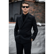 Custom Made Black Men Suits Double Breasted Groom Suits Blazer Slim Fit 2 Piece Prom Tuxedo Masculino (Jacket+Pants)