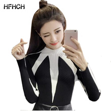 2017 Slim color block decoration long-sleeve pullover black turtleneck sweater women female knitted basic shirt all-match top