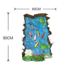 3D Stream Floor/Wall Sticker Removable Mural Decals Vinyl Art Living Room Decor baby room wallpaper for kids room free shipping