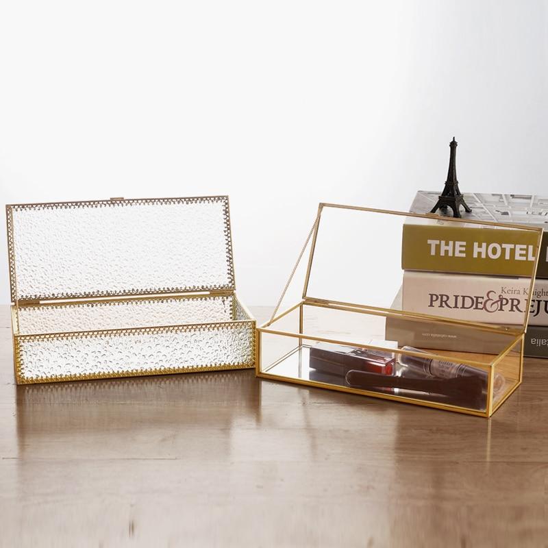 Storage-Box Jewelry-Box Glass Home-Decoration Golden Wedding-Display Rim Retro Creative