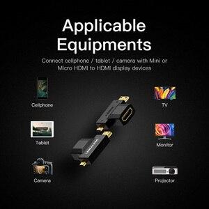 Image 5 - Vention mini hdmi/micro hdmi para hdmi adaptador conversor 2 em 1 3d 1080 p macho para fêmea para tv monitor projetor câmera