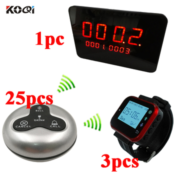 Wireless Pager Restaurant Calling Paging System 1 LED Display + 3pcs Watch Wrist Receiver+25pcs Call Transmitter Button Pager