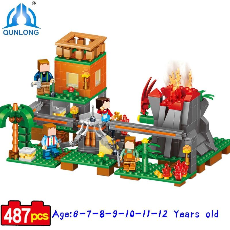 Qunlong 520 Volcano Village Figures Building Blocks Educational Bricks Kids Toy Compatible Legoe Minecraft Building Blocks Toy qunlong 0521 my world volcano mine building blocks toy compatible legoe minecraft building block city educational boys toy gift