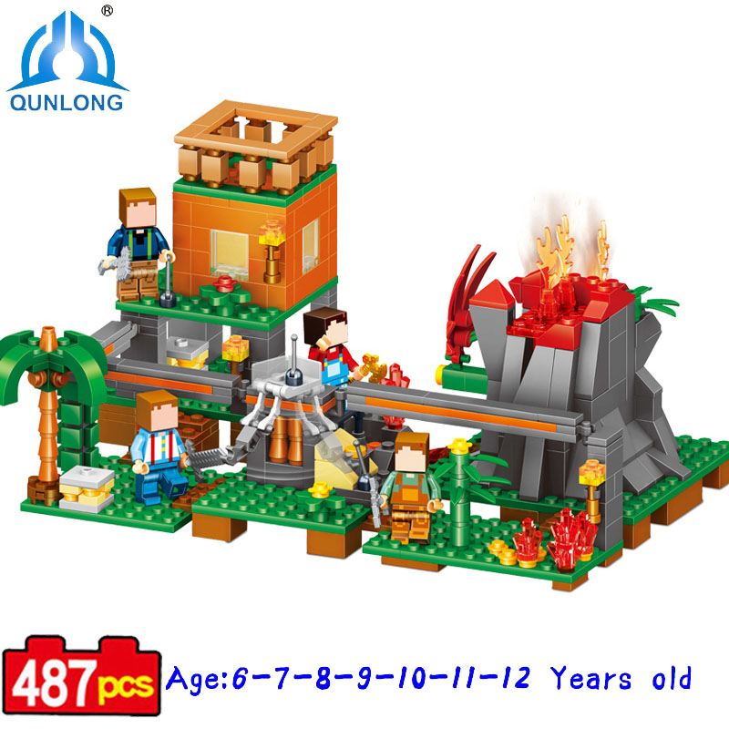 Qunlong Volcano Village Figures Building Blocks Bricks Set Educational Kids Toy Compatible Legoe Minecraft City Brinquedos qunlong 0521 my world volcano mine building blocks toy compatible legoe minecraft building block city educational boys toy gift