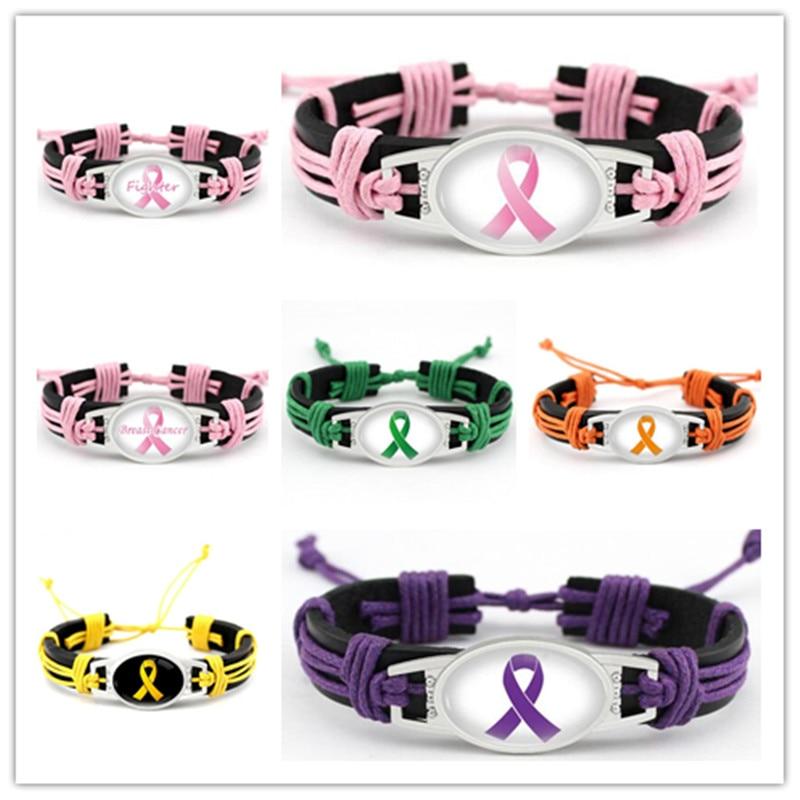 Mix Ribbon Leather Bracelet Adjustable Cancer Awareness Genuine Leather Bracelets & Bangles For Men And Women Bracelet Jewelry
