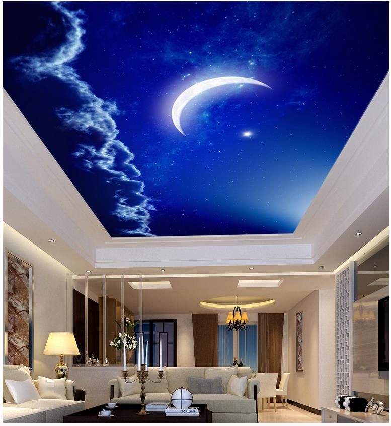 Home Decoration Night sky ceiling month Custom 3d photo wall paper ceiling Non woven wallpaper 3d wallpaper mural