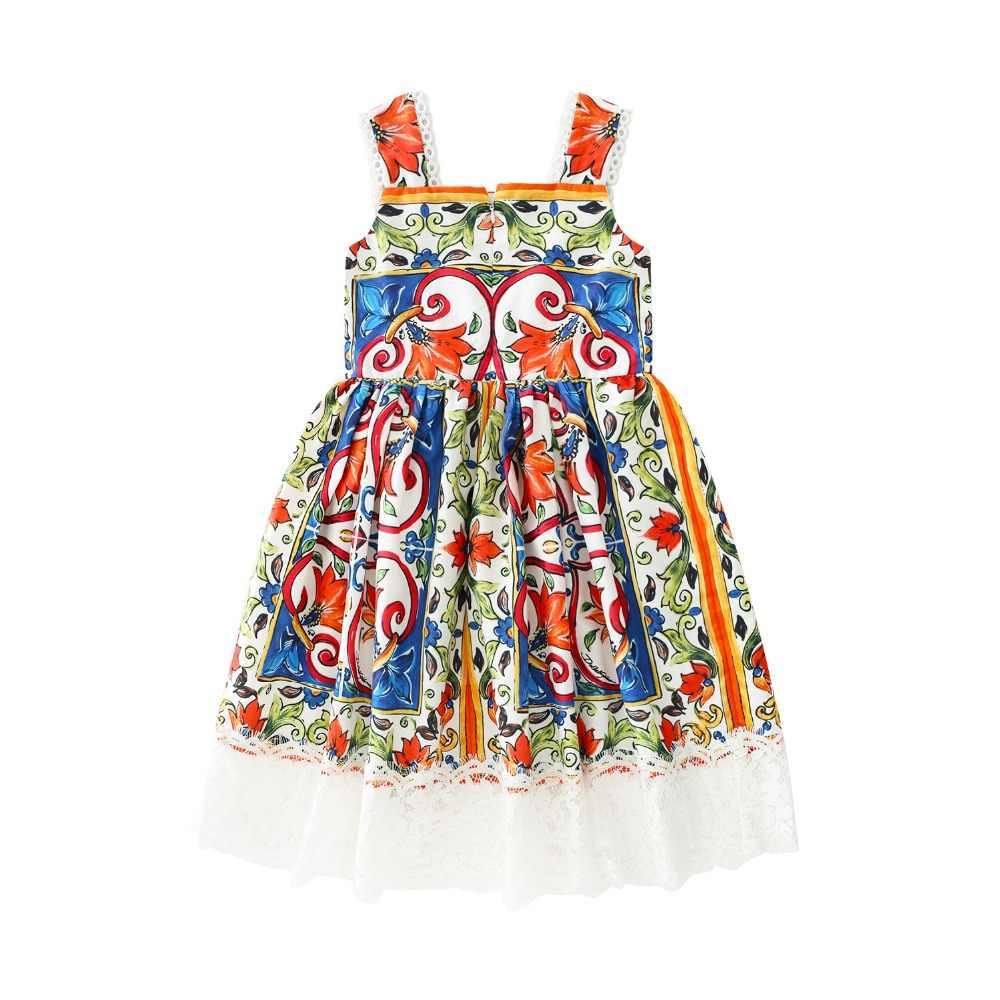 Детское платье в цветочек/платье для маленьких девочек, летнее праздничное платье принцессы с цветочным принтом на бретельках для маленьких девочек, одежда для детей, хлопковый костюм