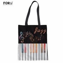 FORUDESIGNS Large Capacity Handbag Music Notes with Piano Keyboard Women Tote Shoulder Bags School Girls Storage Crossbody Bags