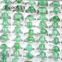 Женские кольца с зеленым натуральным камнем серебряного цвета