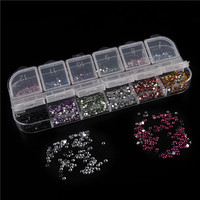 Rosalind New Arrival 1.5MM Mix 12 Colors Choose Nail Art Rhinestones Acrylic Decoration With Hard Box UV Gel Nail Decorations