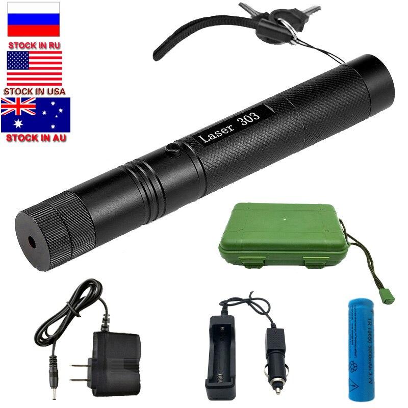 Dropshipping militar 532nm 5mw 303 verde laser para a caça verde caneta lazer ponteiro queima feixe queimar jogo + 18650 bateria