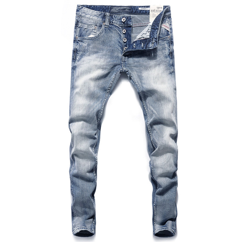 Italian Vintage Designer Men Jeans Blue Color Slim Fit Buttons Denim Pants Brand Jeans Men Fashion Classical Street Jeans Homme
