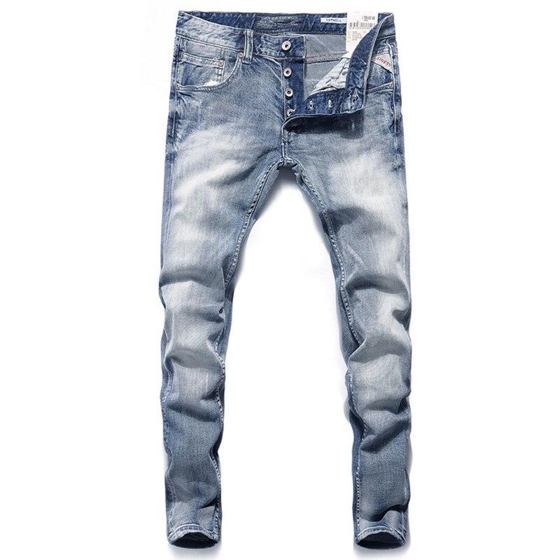 Italian Vintage Designer Men Jeans Blue Color Slim Fit Buttons Denim Pants Brand Jeans Men Fashion Classical Street Jeans Homme