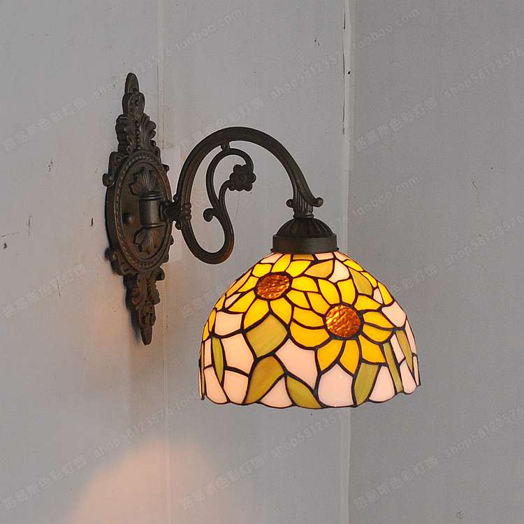 20CM sun flower table pub wall Tiffany balcony before the mirror mirror glass lighting lamp yellow alloy The American Village before the incal