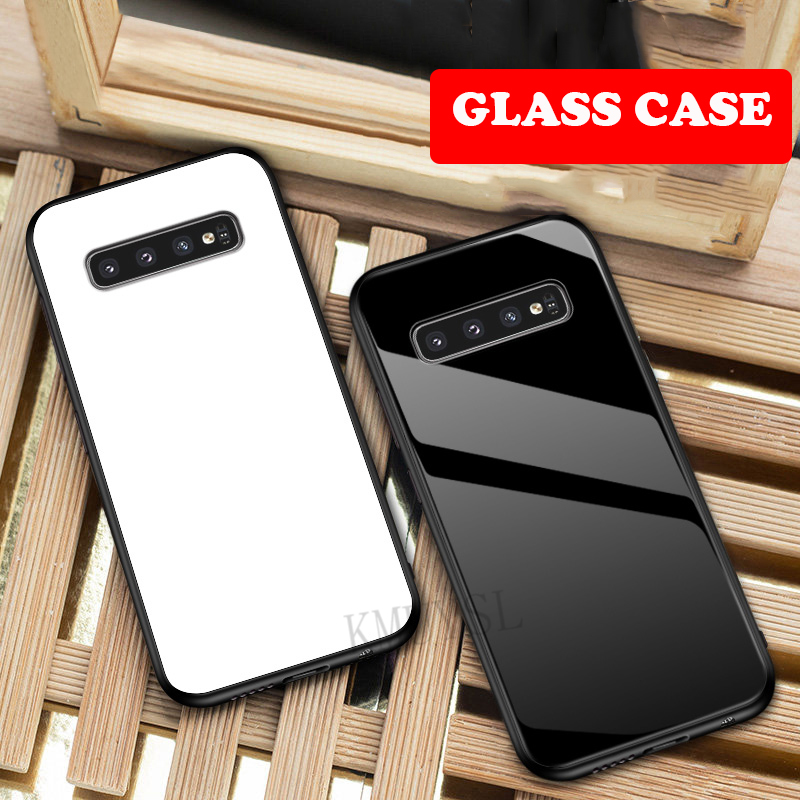 Tempered Glass Hard Back Case Cover For Samsung Galaxy S10 S10E A6 A7 A8 Plus A9 2018 A10 A30 A40 A70 A50 2019 M10 M20 M30 Cover image
