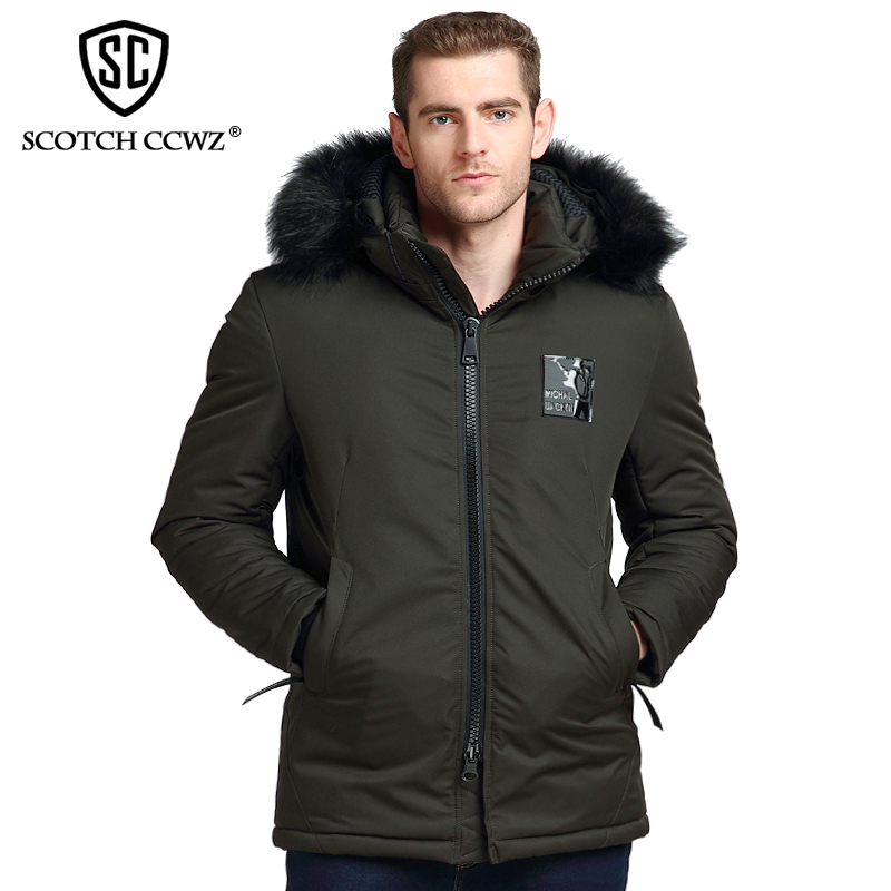 SCOTCH CCWZ Brand RU/EU size Long Thick Warm Winter Jacket Men Parkas 2017 Fashion Jackets And Coats Clothing Outerwear L-2906 free shipping winter parkas men jacket new 2017 thick warm loose brand original male plus size m 5xl coats 80hfx