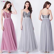 Vestidos De Damas De Honor Long Bridesmaids Dresses Ever Pretty EP07392  Elegant Sequins A Line V Neck Tulle Wedding Party Gowns de2a8661dfbf