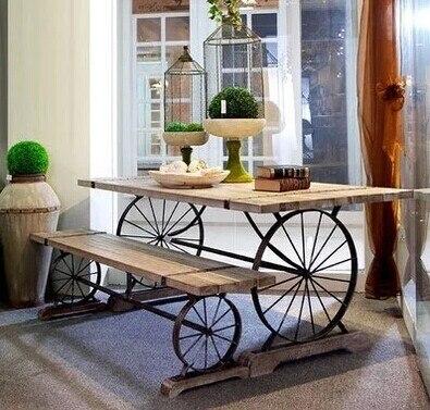 European Retro Dinette Combination Of Solid Wood Furniture