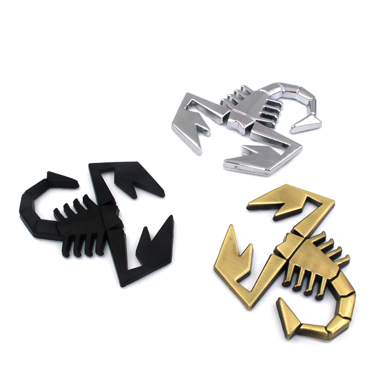 3D 3M Car Metal Adhesive Badge Emblem logo Decal Sticker scorpion For All Fiat Abarth 124/125/125/500 car styling accessories