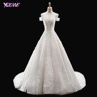 YQLNNE Luxury Lace Wedding Dress 2018 Bridal Dresses Off the Shoulder Tulle Lace Up Vestido De Noiva
