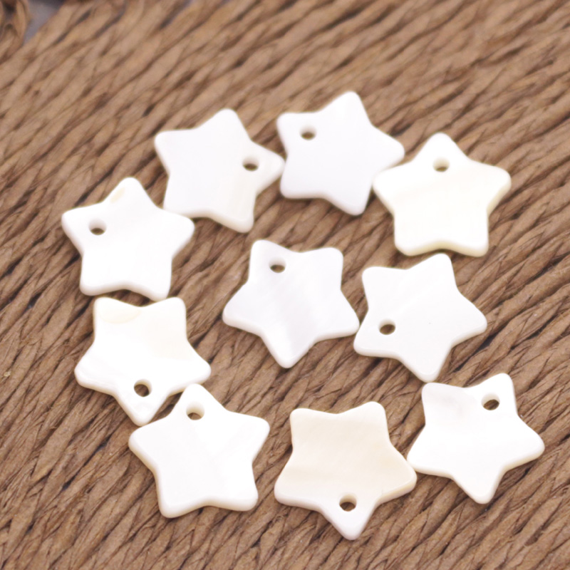Купить с кэшбэком Lots 50 PCS Natural Shell Star Charm Mother of Pearl 10mm  Jewelry Making