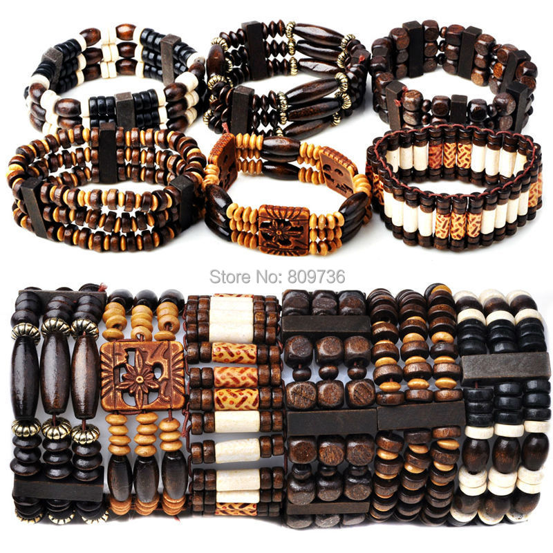 Aliexpresscom Buy 10pcs Wood Beads Charm Bracelet