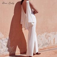 Deer Lady Rompers Womens Jumpsuit Summer 2018 Sexy Backless Jumpsuit Ruffles White Sleeveless Wide Leg Jumpsuit Pants Wholesale