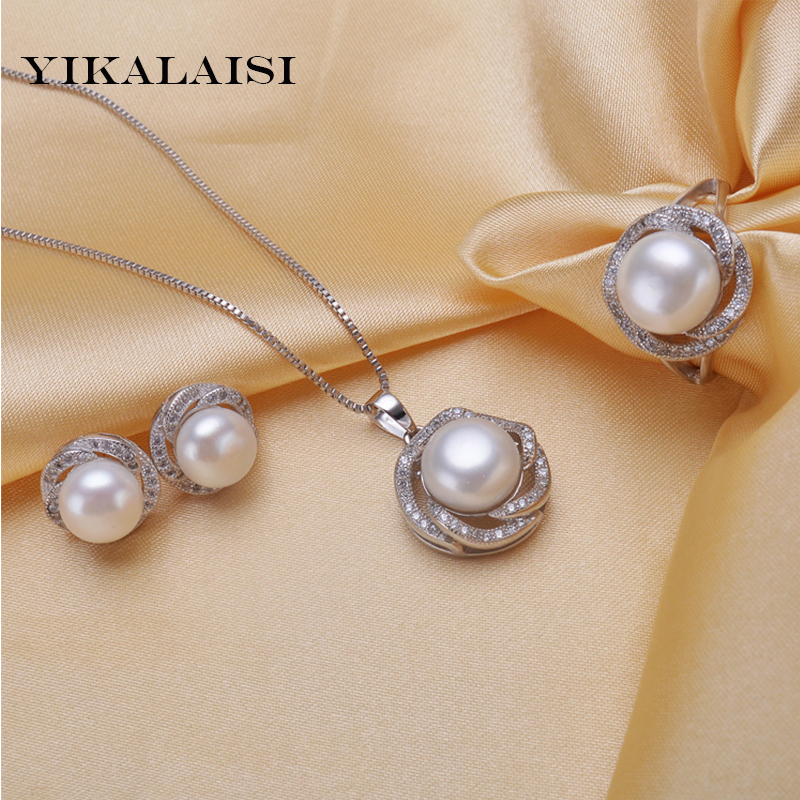 YIKALAISI 2017 natural freshwater pearl Pendant Necklace/Earrings jewelry set for women 925 sterling silver jewelry wedding