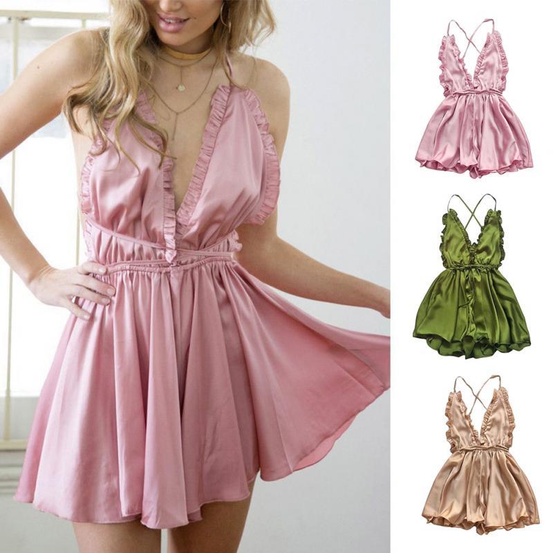 Women Sexy Backless Off Halter Slip Dress Falbala Mini Sleep Jumpsuit Nightwear Sleepwear