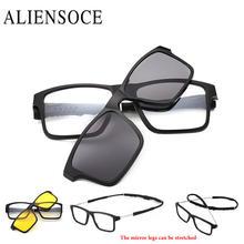 38527de8aebe6 ALIENSOCE 2 lenes Mudança Braços Ímã Clipe Óculos Polarizados Clip sobre  Óculos De Sol Clip sobre Óculos de Prescrição Miopia Do.