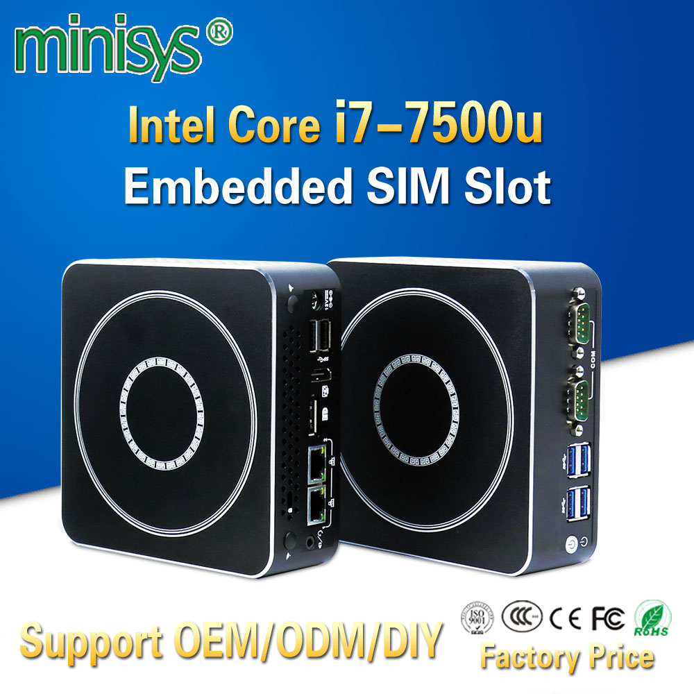 MINISYS Powerful Mini PC Intel Kaby Lake i7 7500u Dual Core 2 Ethernet Lan Micro itx Desktop Computer TV Box For Windows 7 8 10