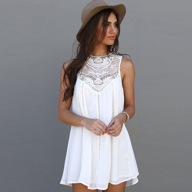 Tel Solid Fashion White Mini Lace Dress Summer 2016 Women Casual Y Sleeveless Beach Short