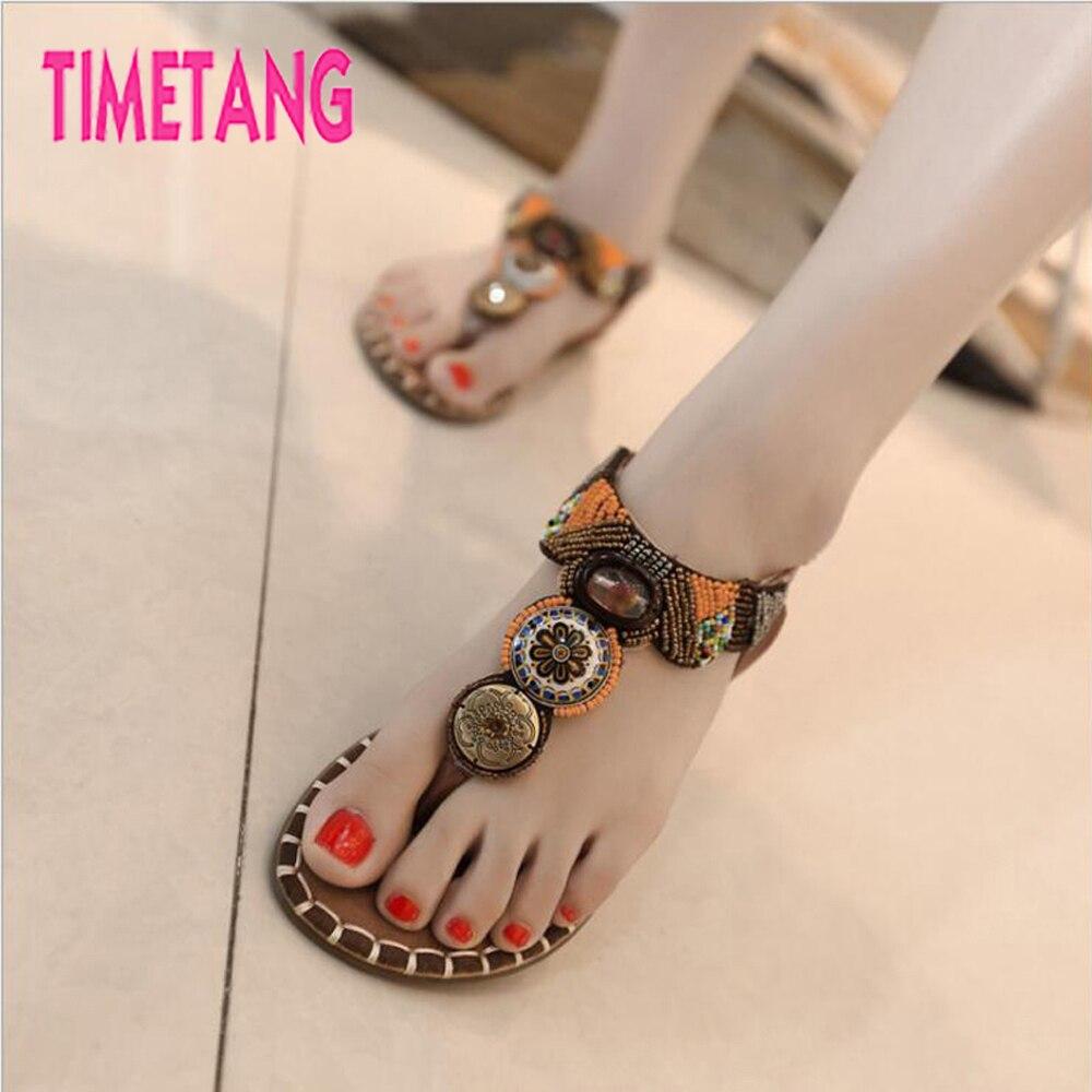be6d2f09878001 TIMETANG Summer Sandals Ethnic String Bead Bohemia Gladiator Flat Heel Women  Thong Sandals Comfortable Woman Toepost Rome Shoes