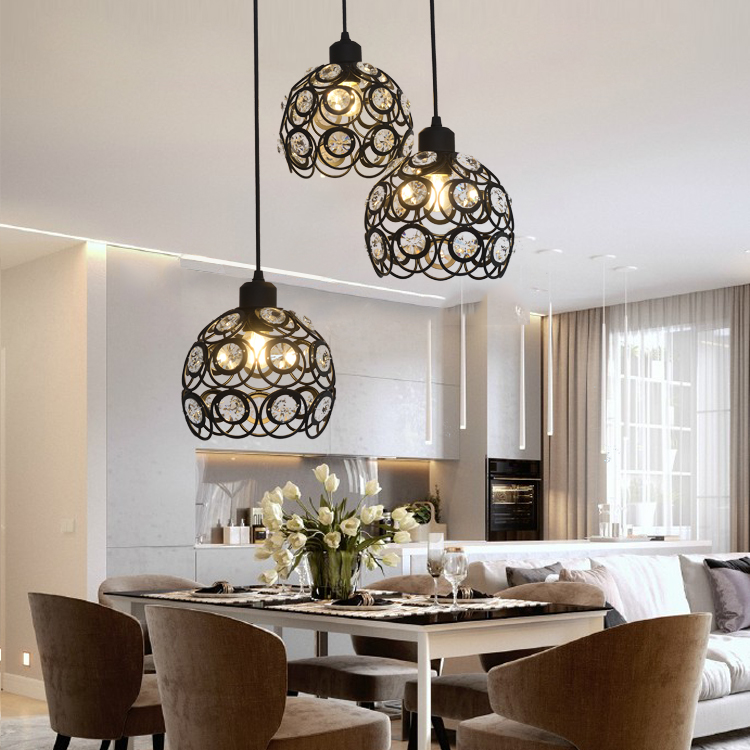 Modern Crystal Pendant Lamps Design White/Black Iron Chandelier for Home Hanging Lights Bar Living Room Decoration Lighting E27Modern Crystal Pendant Lamps Design White/Black Iron Chandelier for Home Hanging Lights Bar Living Room Decoration Lighting E27