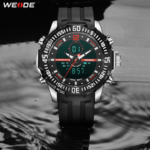 WEIDE Men Sport Fashion Luxury Alarm Military Army digital display Rubber Belt Analog Quartz Wristwatches Waterproof Clock Hours weide brand big dial army military japan quartz watch movement analog digital display water resistant leather strap alarm clock