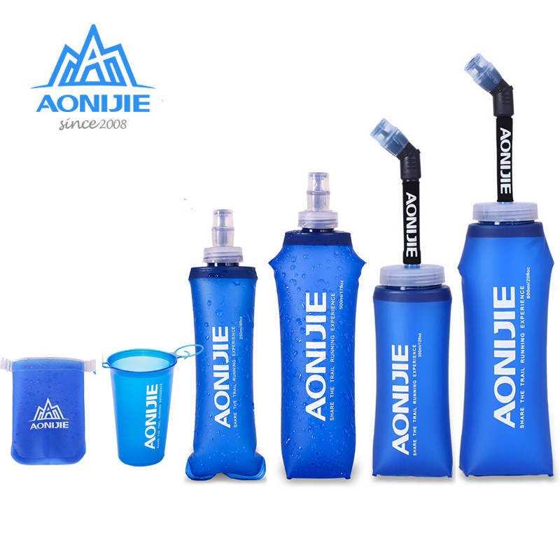 AONIJIE 170ml 200ml 250ml 350ml  500ml 600ml Running Sport Bicycle Soft Water Bottle Folding TPU Soft Flask Water Bag