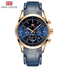 MINI FOCUS Fashion Mens Wristwatch Quartz Watch Men Waterproof Luxury Brand Watches Leather Strap 24hours Relogio Masculino Blue