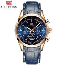 MINI FOCUS موضة رجالي ساعة اليد ساعة كوارتز الرجال مقاوم للماء العلامة التجارية الفاخرة الساعات حزام من الجلد 24 ساعة Relogio Masculino الأزرق