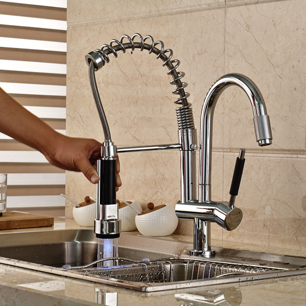 kitchen faucets wholesale new wholesale and retail new led spring kitchen sink faucet hot and cold pull out kitchen faucet 4844